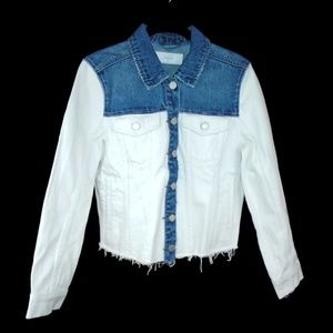 Blank NYC Jackets & Coats - BlankNYC Denim Jacket White Blue Cut Off Style